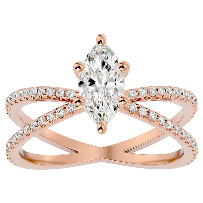 1.25 Carat Marquise Shape Diamond Engagement Ring in 14K Rose Gold (3.50 g) (