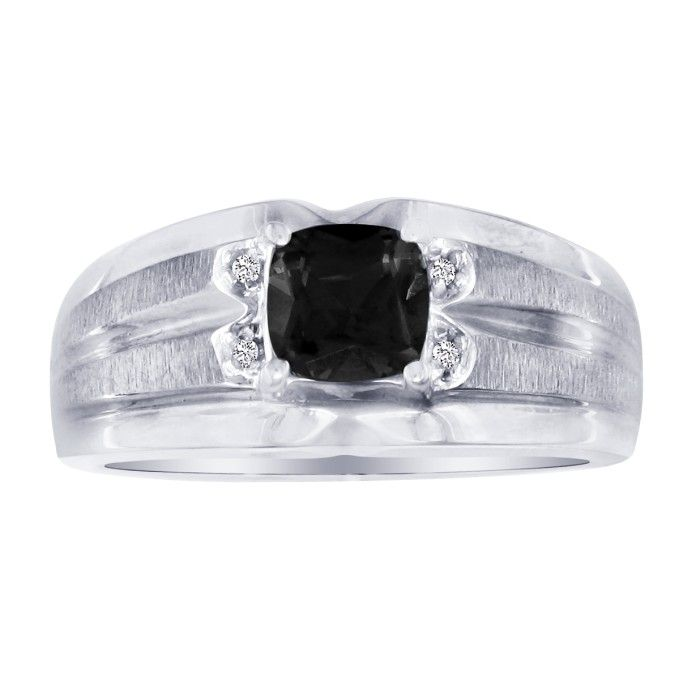 .02ct Diamond and Black Onyx and Diamond Men's Ring in 10k White Gold