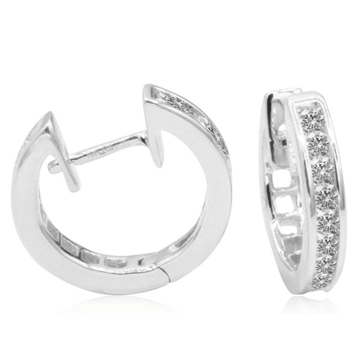 1/4ct Huggy Hoop Diamond Earrings in 10k