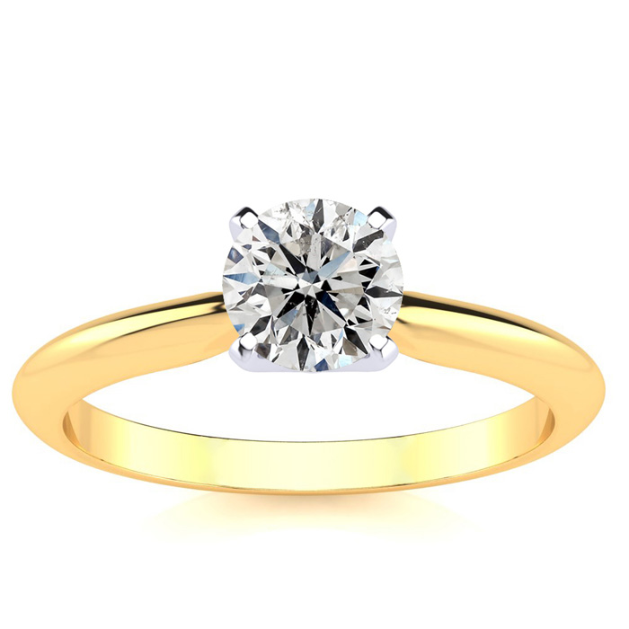 3/4 Carat Diamond Solitaire Engagement Ring, 14k Yellow Gold,  by SuperJeweler