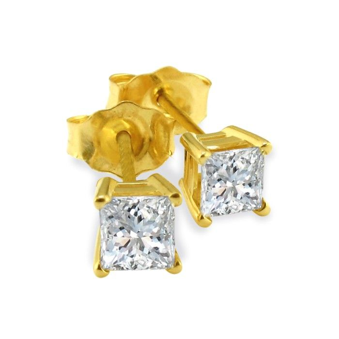 3/4 Carat Princess Cut Diamond Stud Earrings in 14k Yellow Gold,  by SuperJeweler