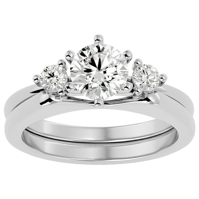 1 Carat Diamond Solitaire Ring w/ Enhancer in 14K White Gold (6.80 g) (
