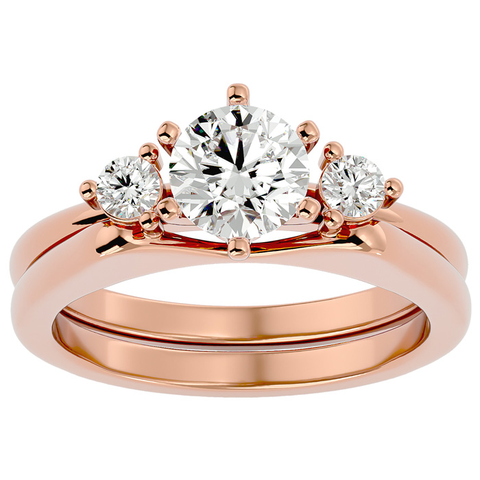 1 Carat Diamond Solitaire Ring w/ Enhancer in 14K Rose Gold (6.80 g) (