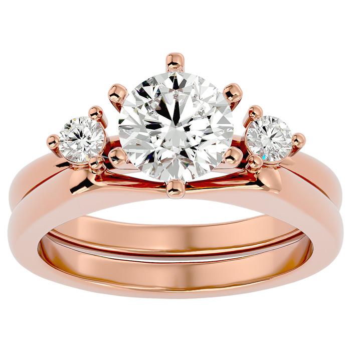 1.5 Carat Diamond Solitaire Ring w/ Enhancer in 14K Rose Gold (7.80 g) (