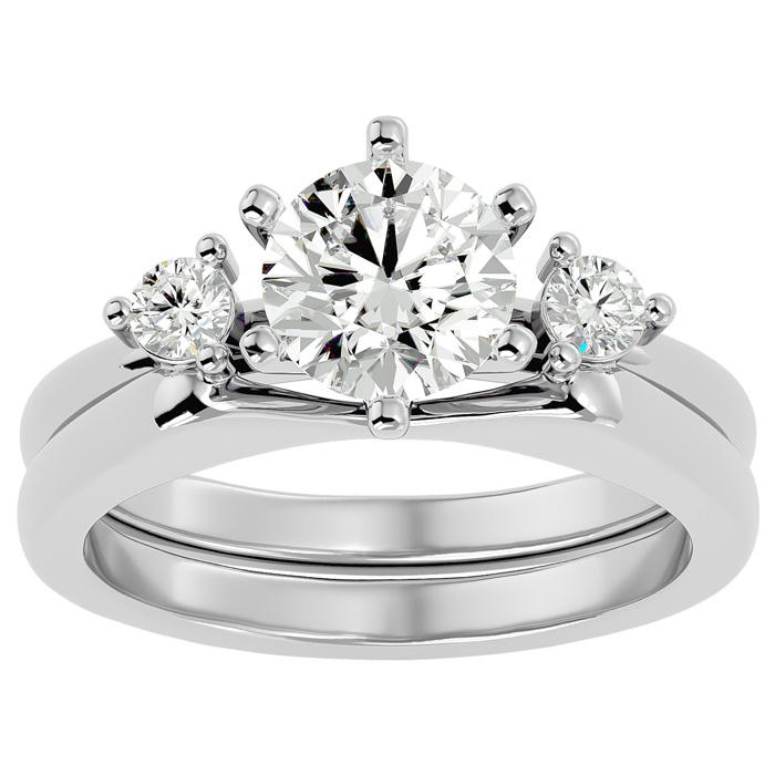 1.5 Carat Diamond Solitaire Ring w/ Enhancer in 14K White Gold (7.80 g) (