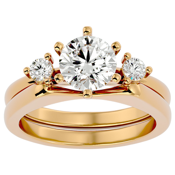 1.5 Carat Diamond Solitaire Ring w/ Enhancer in 14K Yellow Gold (7.80 g) (
