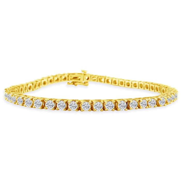 7 Inch 14k Yellow Gold 5 Carat Diamond Tennis Bracelet Item Number Jwl 5505