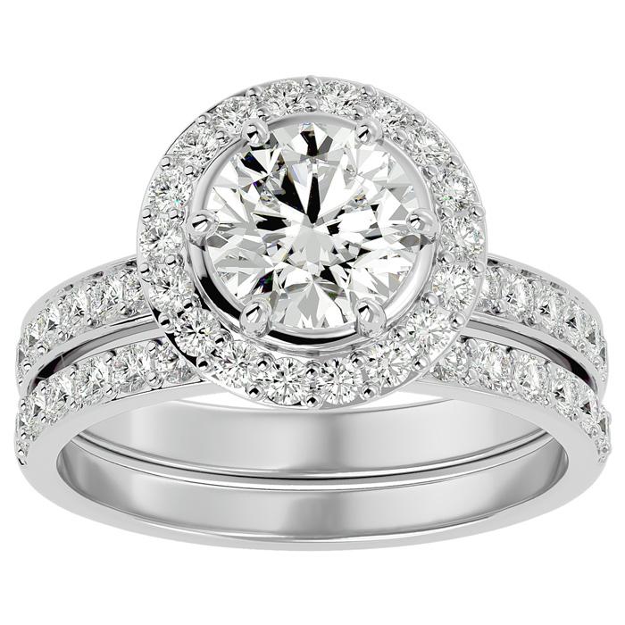 2.5 Carat Halo Diamond Bridal Engagement Ring Set in 14K White Gold (7 g)