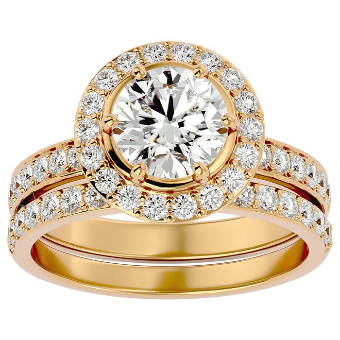2.5 Carat Halo Diamond Bridal Engagement Ring Set in 14K Yellow Gold (7 g)