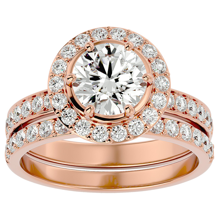 2.5 Carat Halo Diamond Bridal Engagement Ring Set in 14K Rose Gold (7 g)