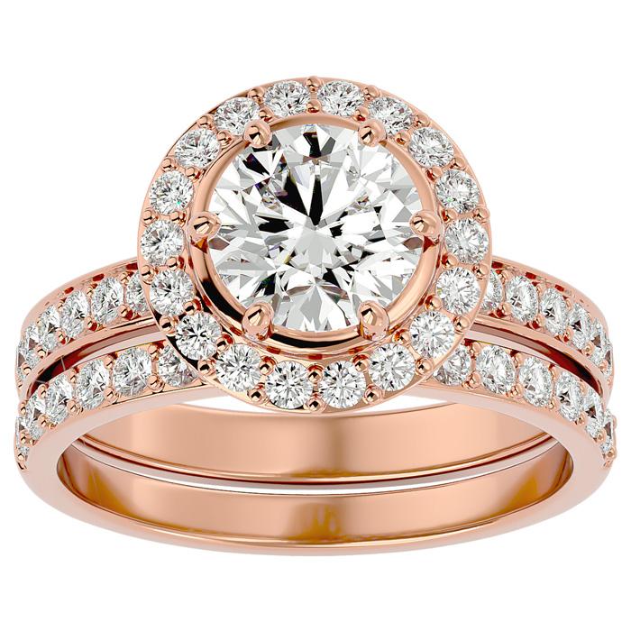 2.5 Carat Halo Diamond Bridal Engagement Ring Set in 14K Rose Gold (7 g) (