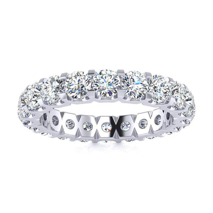 14K White Gold (6.2 g) 3 Carat Round Diamond Comfort Fit Eternity Ring (