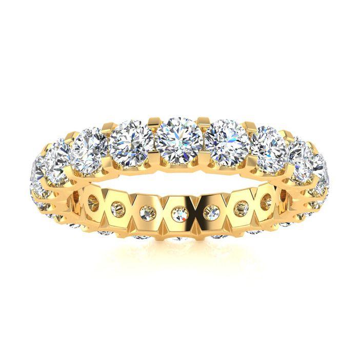 14K Yellow Gold (6.2 g) 3 Carat Round Diamond Comfort Fit Eternity Ring (