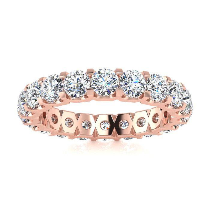 14K Rose Gold (6.2 g) 3 Carat Round Diamond Comfort Fit Eternity Ring (