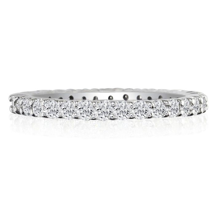 14K White Gold (6.2 g) 3 Carat Round Diamond Eternity Ring (