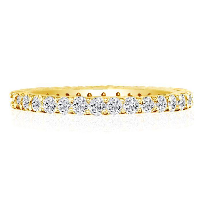 14K Yellow Gold (6.2 g) 3 Carat Round Diamond Eternity Ring (