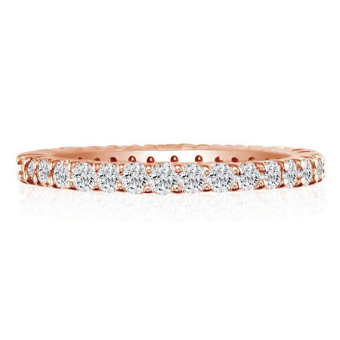 14K Rose Gold (6.2 g) 3 Carat Round Diamond Eternity Ring (