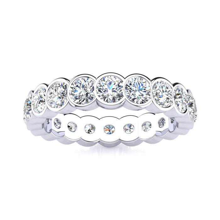 14K White Gold (6.2 g) 3 Carat Round Diamond Bezel Set Eternity Ring (