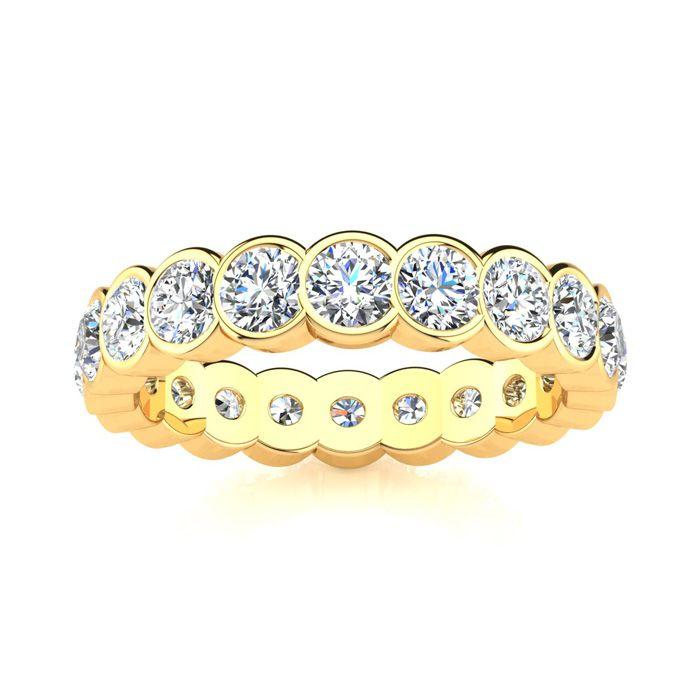 14K Yellow Gold (6.2 g) 3 Carat Round Diamond Bezel Set Eternity Ring (