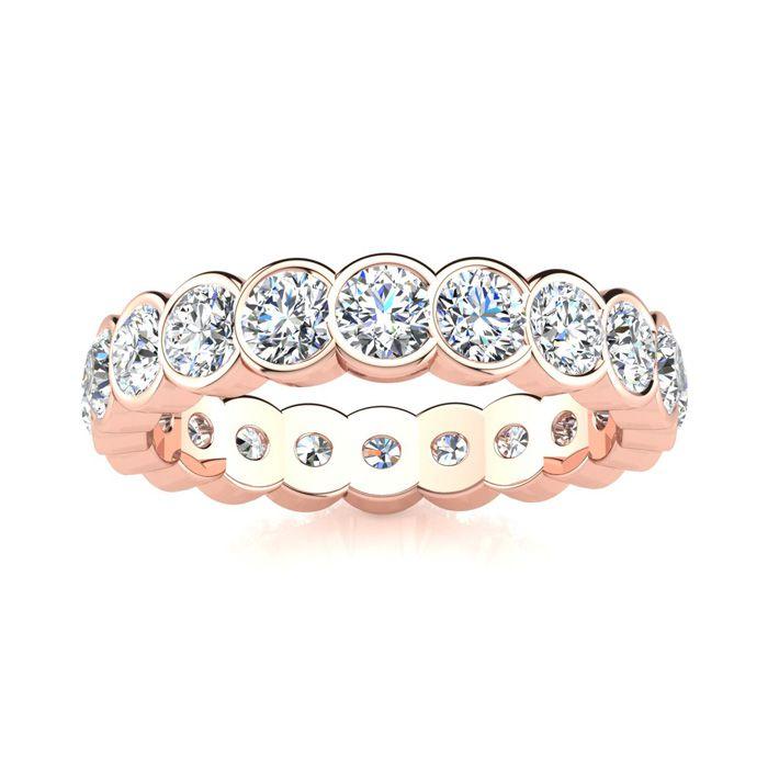 14K Rose Gold (6.2 g) 3 Carat Round Diamond Bezel Set Eternity Ring (