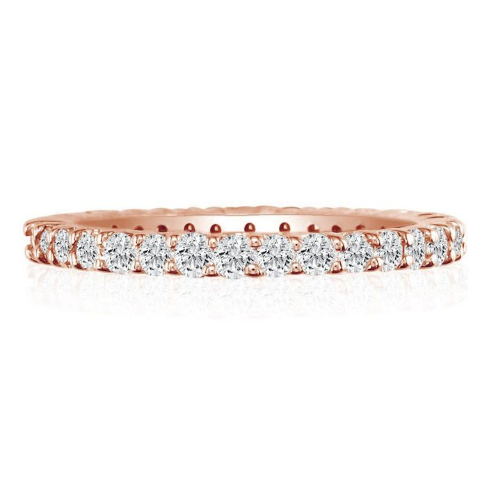 14K Rose Gold (3.3 g) 3 Carat Round Diamond Eternity Ring (
