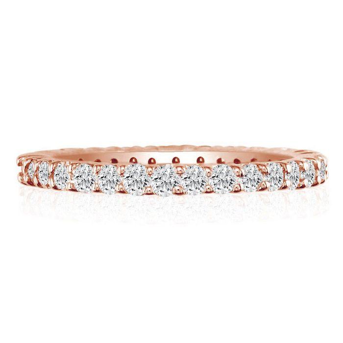 14K Rose Gold (8 g) 4 Carat Round Diamond Eternity Ring (