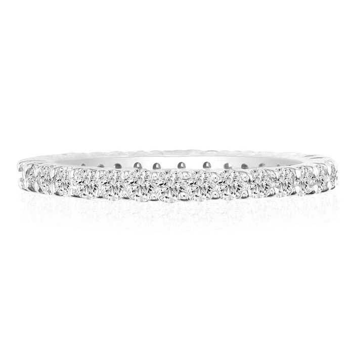 14K White Gold (7.4 g) 3 1/2 Carat Round Diamond Eternity Ring (
