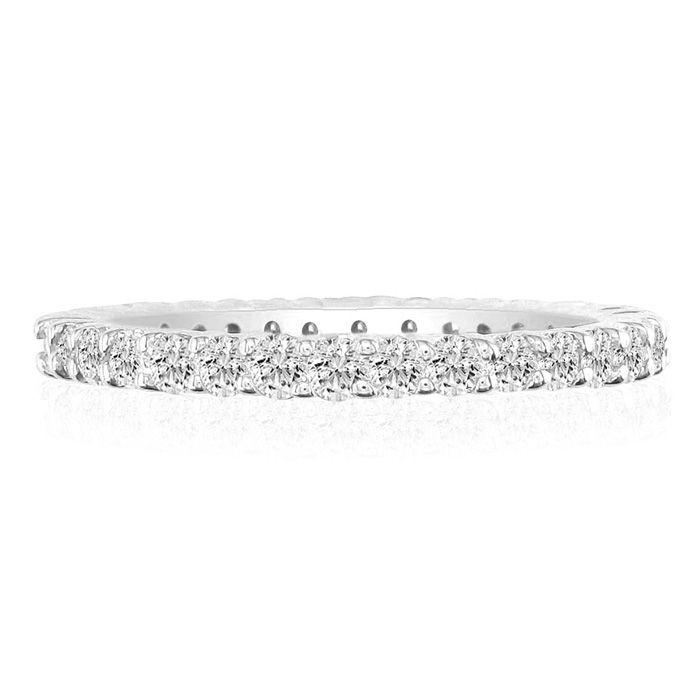 14K White Gold (7.9 g) 3 3/4 Carat Round Diamond Eternity Ring (