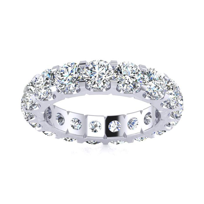 14K White Gold (3.3 g) 3 Carat Round Diamond Comfort Fit Eternity Ring (