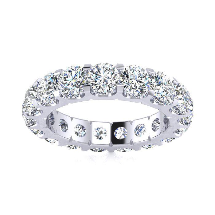 14K White Gold (6.8 g) 3.40 Carat Round Diamond Comfort Fit Eternity Ring (