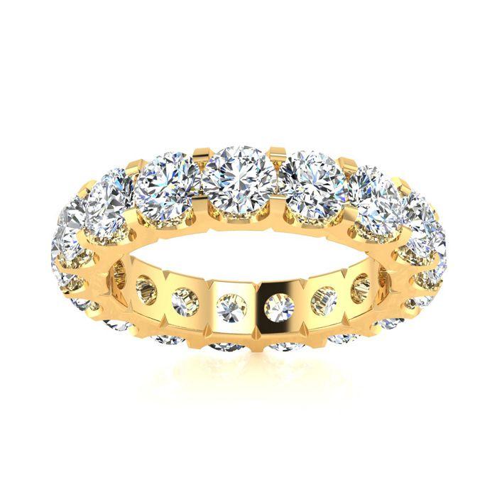 14K Yellow Gold (6.5 g) 3.20 Carat Round Diamond Comfort Fit Eternity Ring (