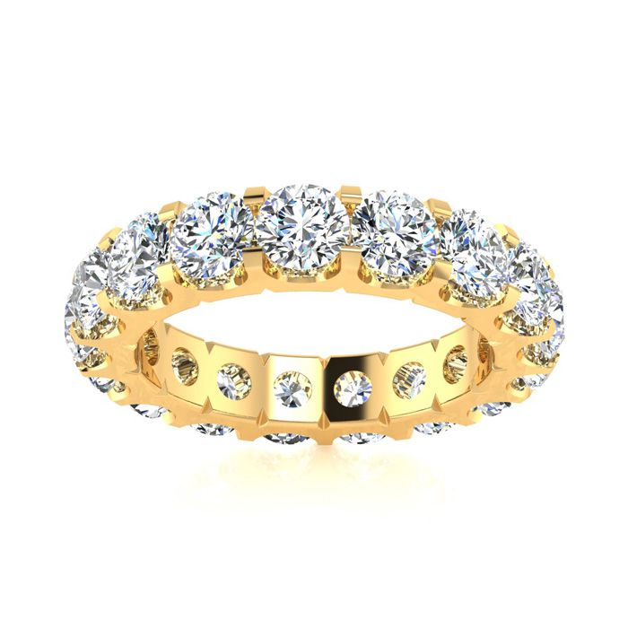 14K Yellow Gold (6.8 g) 3.40 Carat Round Diamond Comfort Fit Eternity Ring (