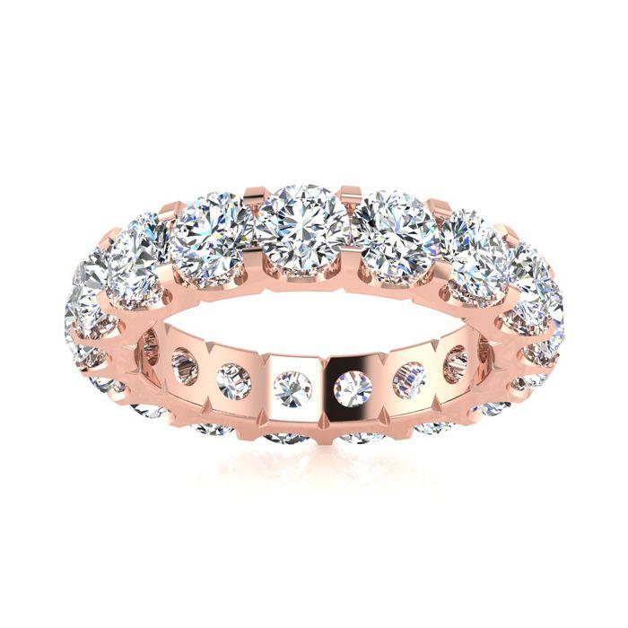 14K Rose Gold (6.8 g) 3.40 Carat Round Diamond Comfort Fit Eternity Ring (