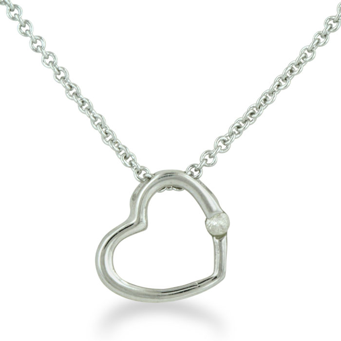 Image of .03ct Diamond Heart Pendant in Sterling Silver