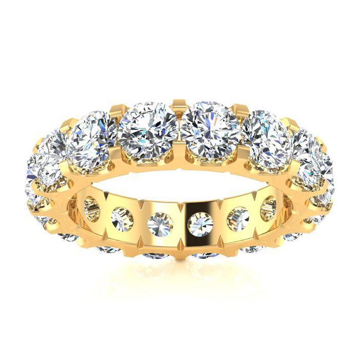 14K Yellow Gold (8 g) 4 Carat Round Diamond Comfort Fit Eternity Ring (