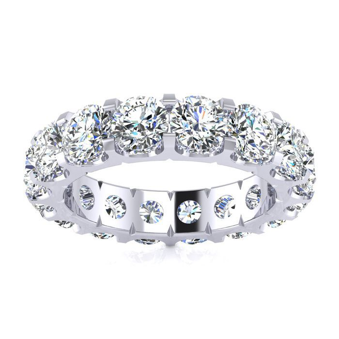 14K White Gold (7.8 g) 3 3/4 Carat Round Diamond Comfort Fit Eternity Ring (