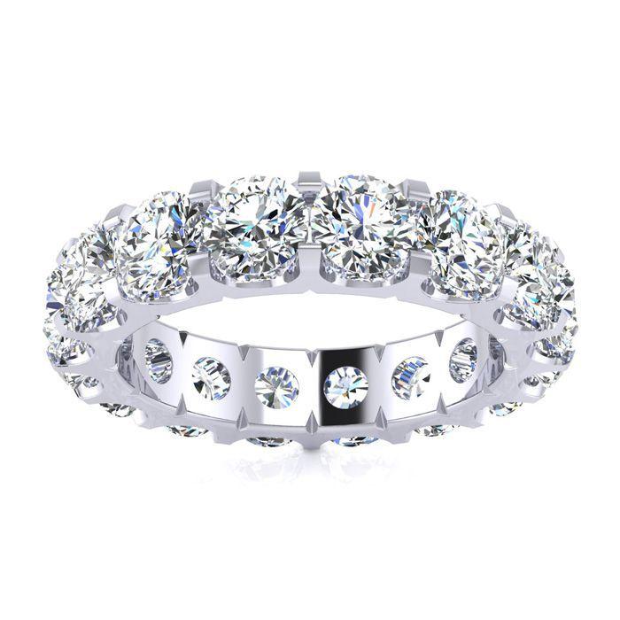 14K White Gold (8 g) 4 Carat Round Diamond Comfort Fit Eternity Ring (