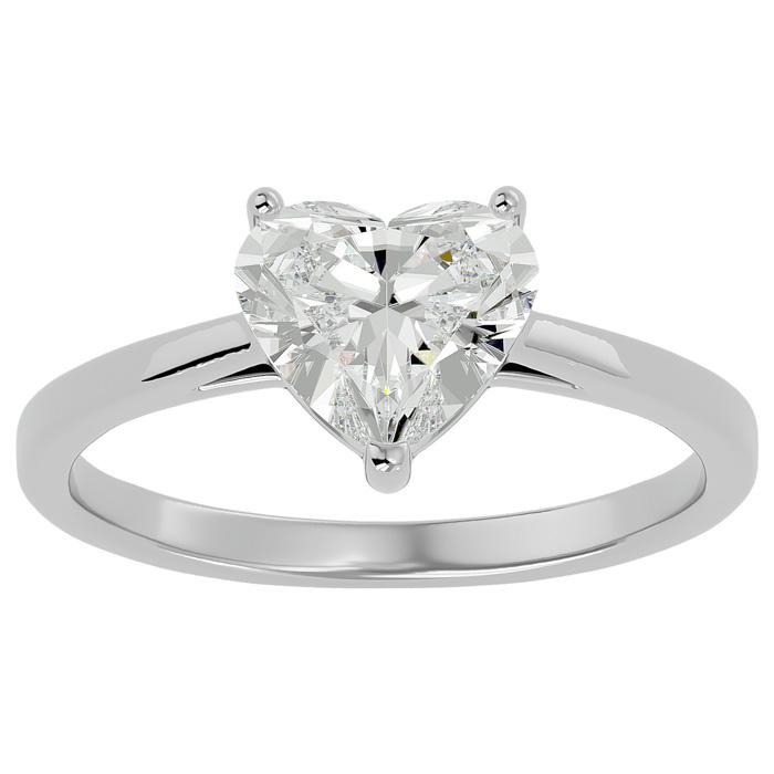 1.41 Carat Heart Shape Diamond Solitaire Ring in 14K White Gold (3 g) (