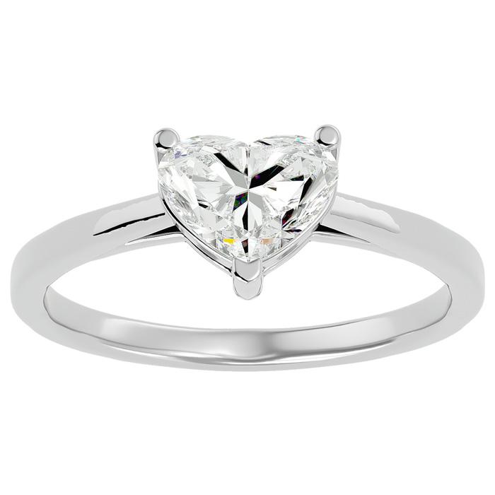 1.42 Carat Heart Shape Diamond Solitaire Ring in 14K White Gold (3 g) (