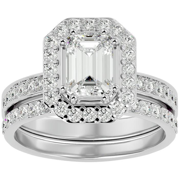 2.5 Carat Emerald Cut Diamond Bridal Engagement Ring Set in 14K White Gold (6.7 g) (G-H Color