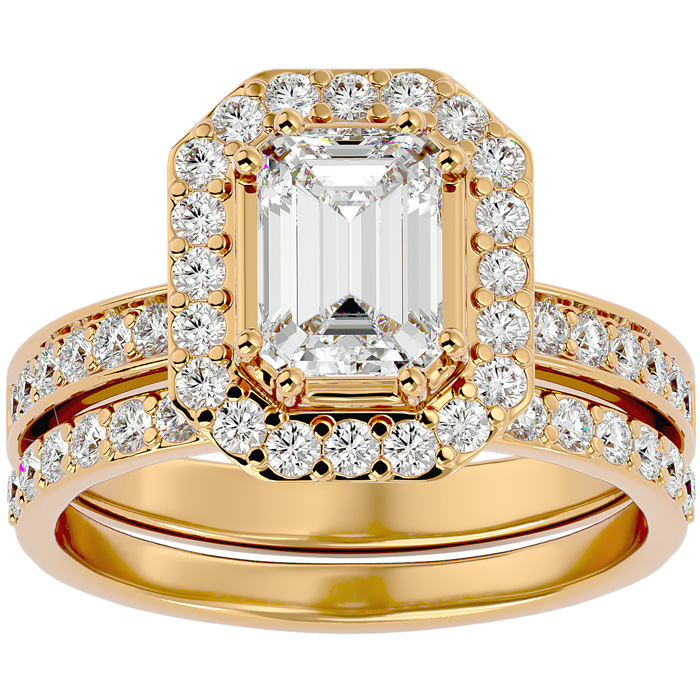 2.5 Carat Emerald Cut Diamond Bridal Engagement Ring Set in 14K Yellow Gold (6.7 g) (G-H Color
