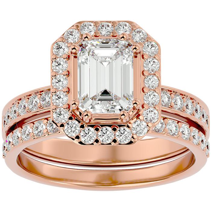 2.5 Carat Emerald Cut Diamond Bridal Engagement Ring Set in 14K Rose Gold (6.7 g) (G-H Color