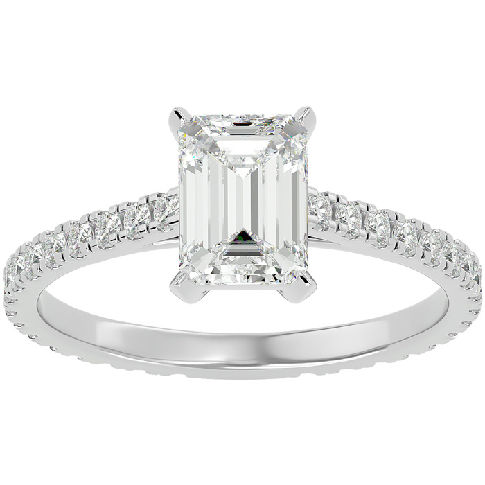 2 Carat Emerald Cut Diamond Engagement Ring in 14K White Gold (2 g) (G-H Color