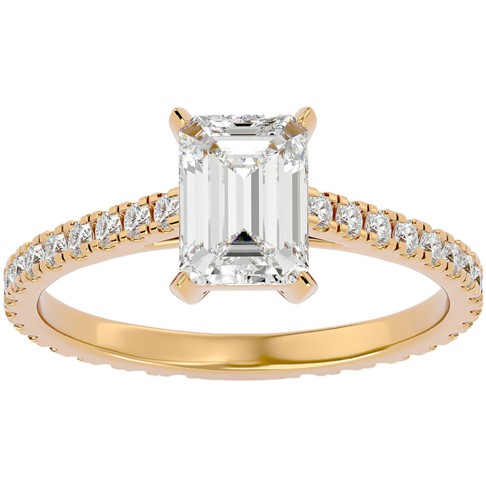 2 Carat Emerald Cut Diamond Engagement Ring in 14K Yellow Gold (2 g) (G-H Color