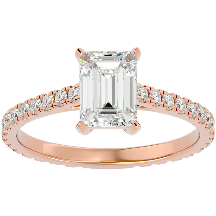 2 Carat Emerald Cut Diamond Engagement Ring in 14K Rose Gold (2 g) (G-H Color