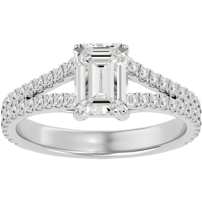 2 Carat Emerald Cut Diamond Engagement Ring in 14K White Gold (3.8 g) (G-H Color