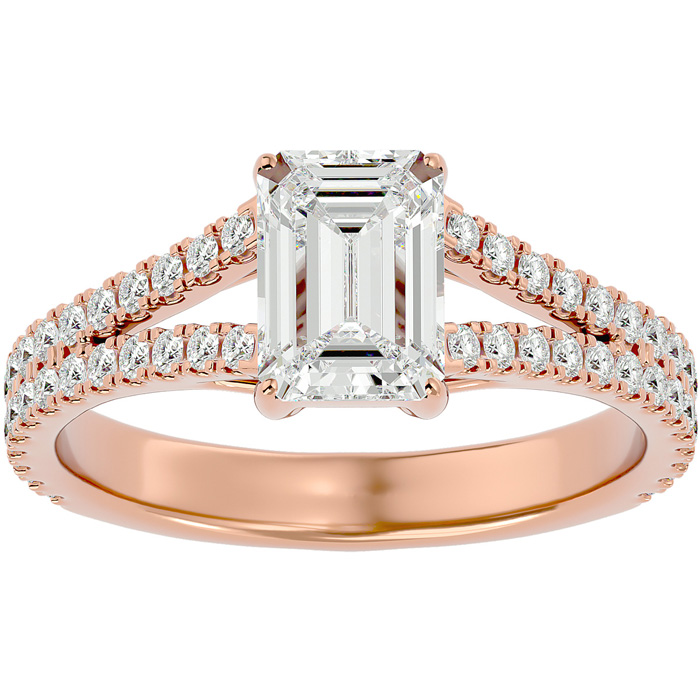 2 Carat Emerald Cut Diamond Engagement Ring in 14K Rose Gold (3.8 g) (G-H Color