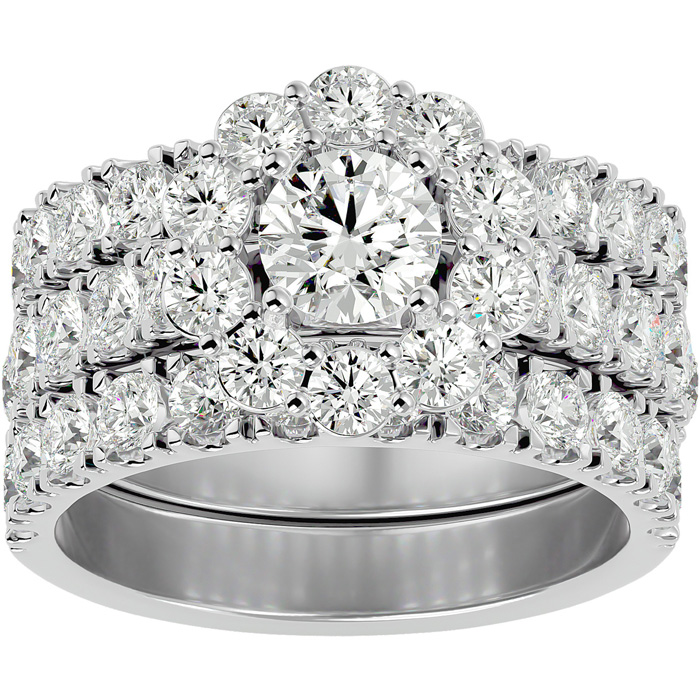 4 1/4 Carat Round Shape Diamond Bridal Ring Set w/ Two Wedding Bands in 14K White Gold (9.5 g) (