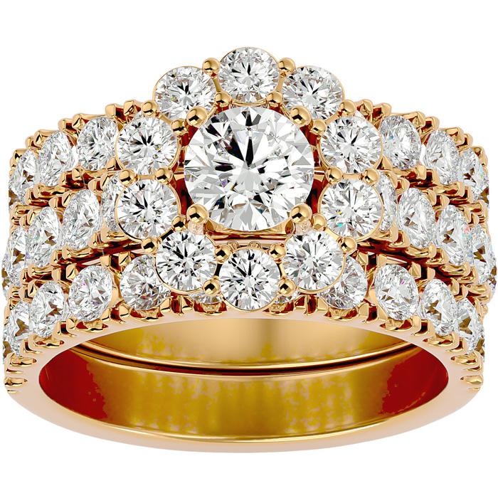 4 1/4 Carat Round Shape Diamond Bridal Ring Set w/ Two Wedding Bands in 14K Gold (9.5 g) (