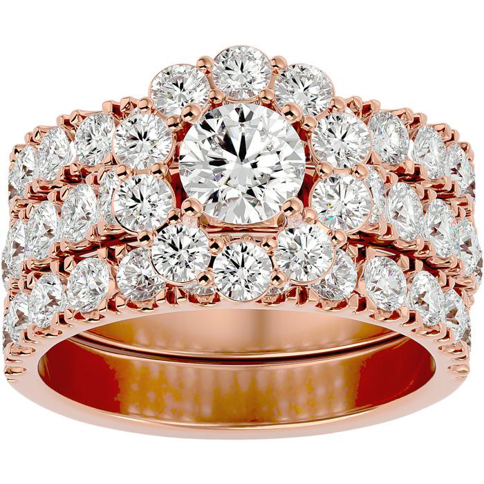 4 1/4 Carat Round Shape Diamond Bridal Ring Set w/ Two Wedding Bands in 14K Rose Gold (9.5 g) (